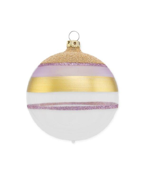 Witte en transparante kerstbal met glitter streepjes in paars en goud 8 cm