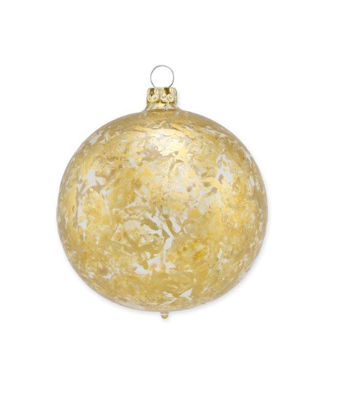 Transparante kerstbal met gouden brocade effect 8 cm