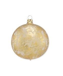 Kerstbal mat Zilver met Gouden Brocade Effect