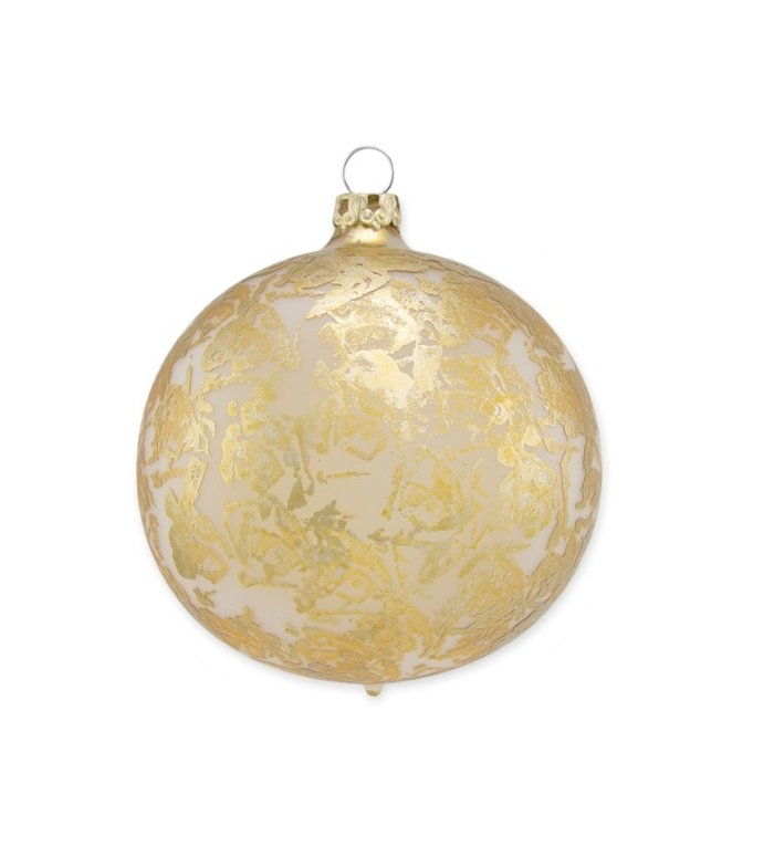 Zilveren matte kerstbal met gouden brocade effect 8 cm