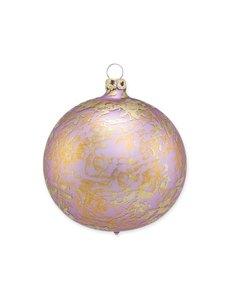 Kerstbal Lila Paars met Gouden Brocade Effect