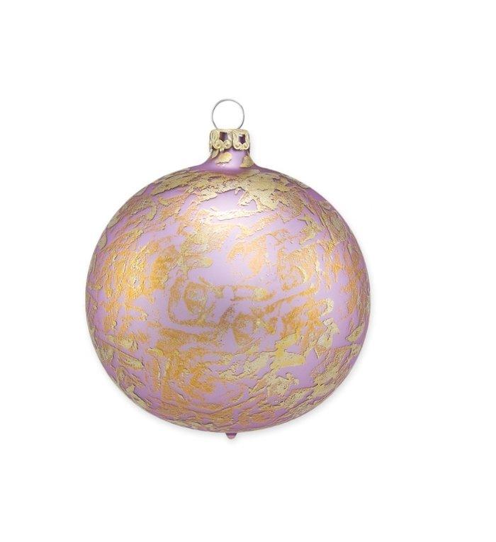 Lila paarse kerstbal met gouden brocade effect 8 cm