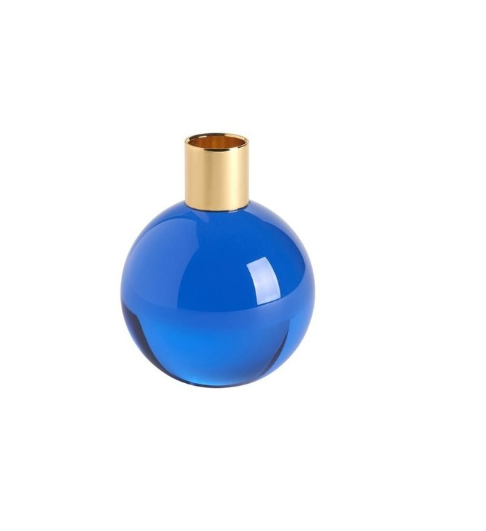 Giftcompany kandelaar van kristalglas Dioptrics blauw 9,5 cm hoog