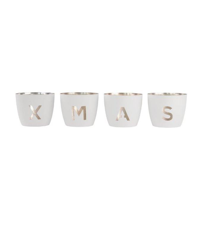 Giftcompany set van 4 waxinelichtjeshouders X-MAS wit - goud