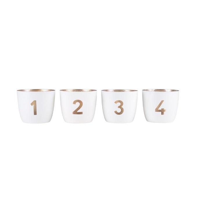 Giftcompany set van vier waxinelichtjeshouders  wit - goud voor de adventstijd