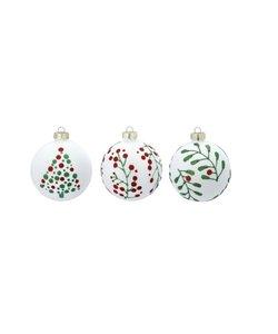 Kerstballen Wit met Kerst groen - set van 3