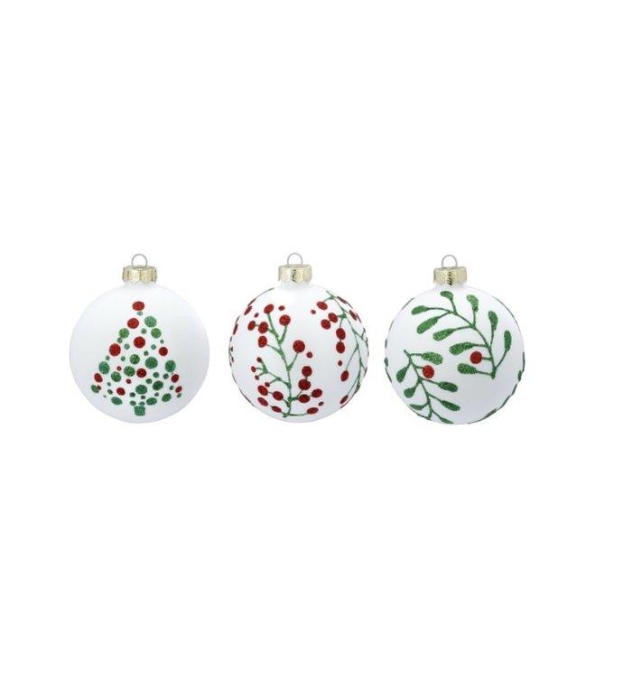 Set van 3 - Glazen witte kerstballen met kerstgroen 8 cm