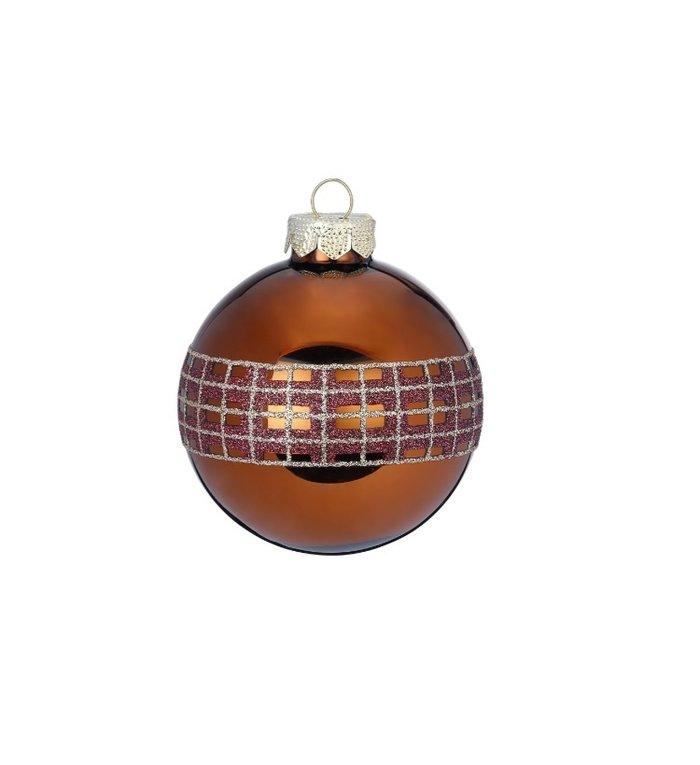 Set van 3 - verschillende gedecoreerde, glazen warme bruine kerstballen  8 cm