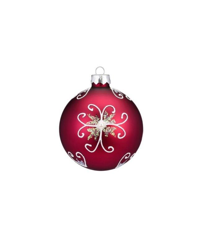 Set van 3 - Glazen kerstballen romance rood / roze 8 cm