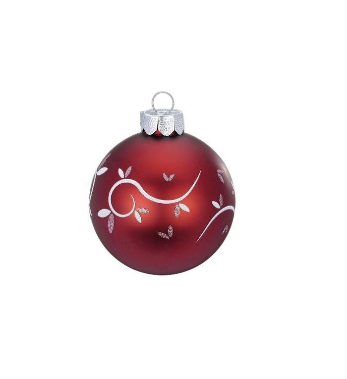 Set van 3 - Glazen kerstballen In Love rood / roze 8 cm