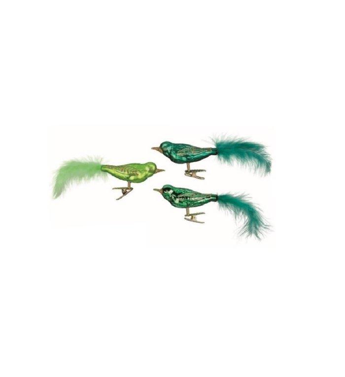 Set van 3 - Glazen groene vogels op kerstboomknijper 9 cm