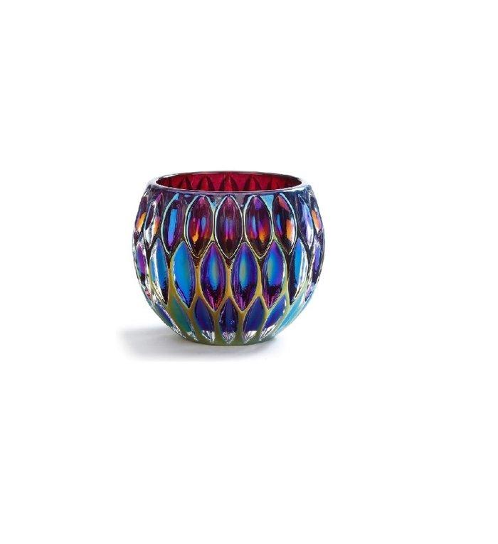 Glazen waxinelichtjeshouder iriserend paars 9 cm