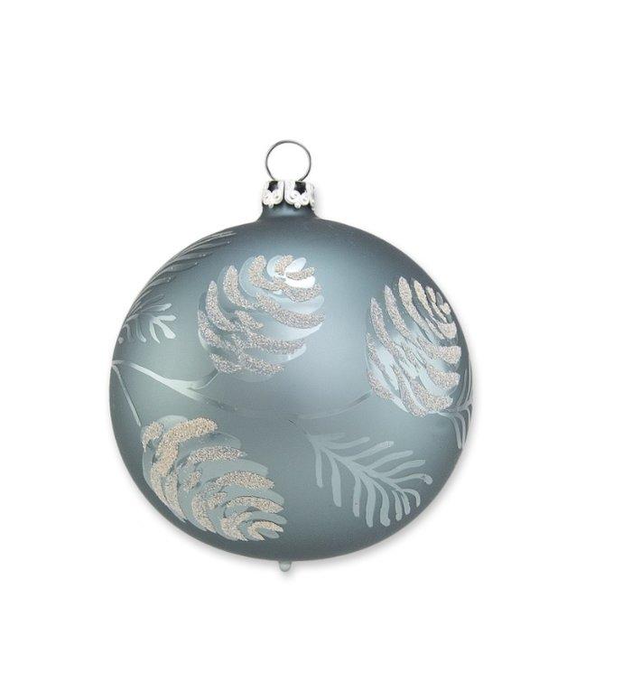 Blauw groene kerstbal met dennentak 8 cm