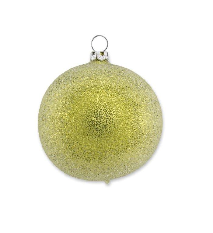 Geel groene glinsterende dauw kerstbal 8 cm