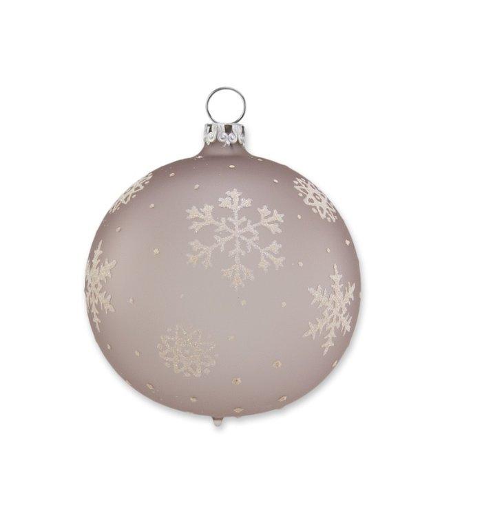 Taupe kleurige kerstbal met sneeuwvlokken 8 cm