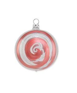 Kerstbal Transparant met Terra en Witte Spiraal