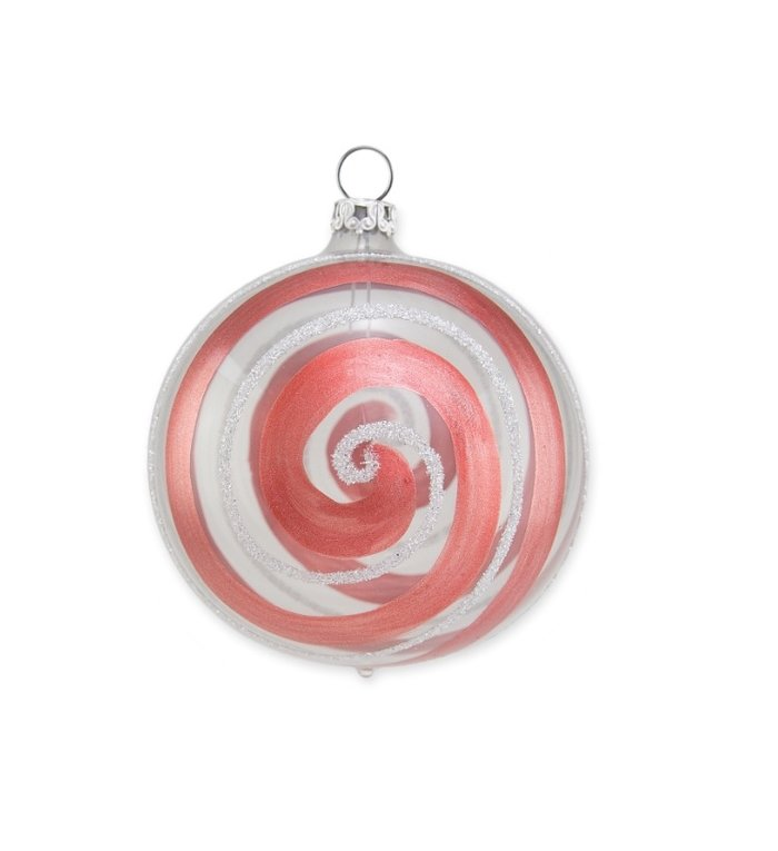 Transparante kerstbal met terra kleurige roodoranje en witte spiraal van 8 cm
