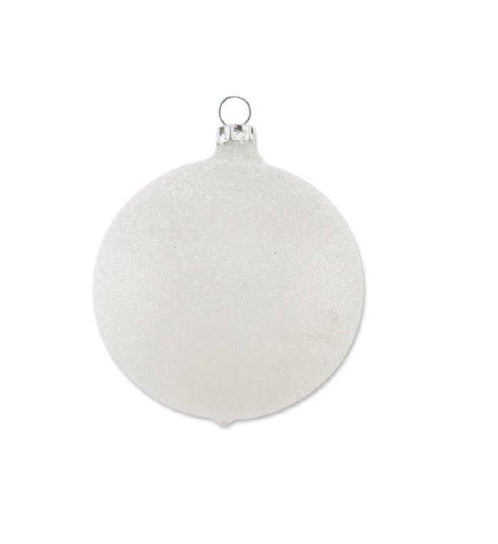 Gezandstraalde parel grijze kerstbal 8 cm
