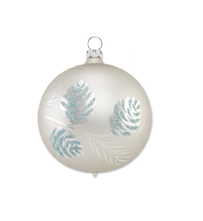 Parel grijze kerstbal met dennentak 8 cm
