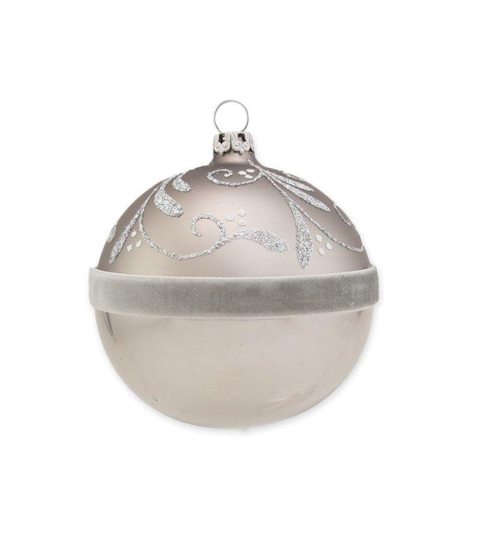 Duif grijze kerstbal met viltenband en glitter ranken 8 cm