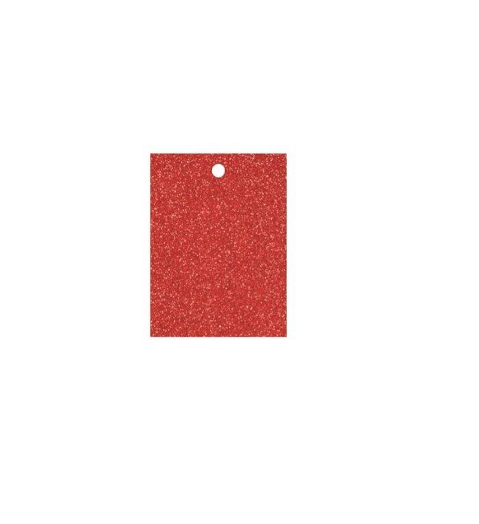 Naamkaartjes voor kerstcadeaus  set van 5 stuks Rood Glitter