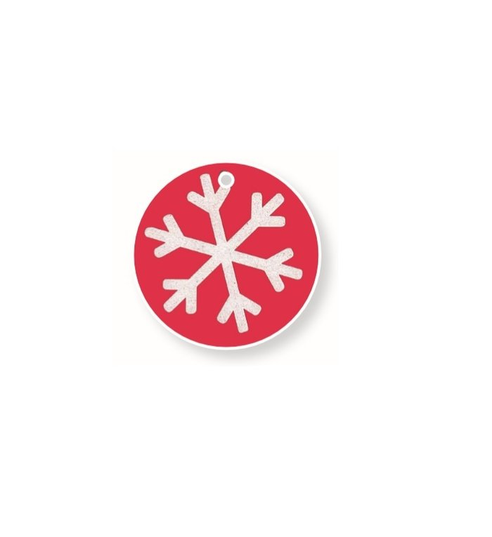 Naamkaartjes voor kerstcadeaus  set van 4 stuks sneeuwvlok rood wit