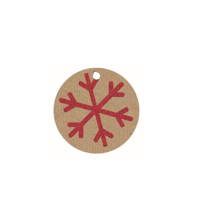 Naamkaartjes voor kerstcadeaus  set van 4 stuks sneeuwvlok bruin rood