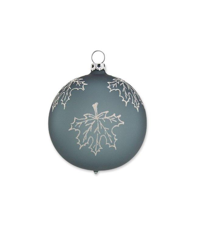 Varen groene matte kerstbal met vallend esdoornblad 8 cm