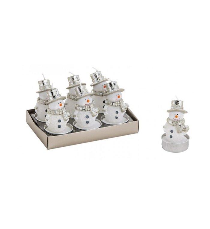 Set van 6  sneeuwpop waxinekaarsjes
