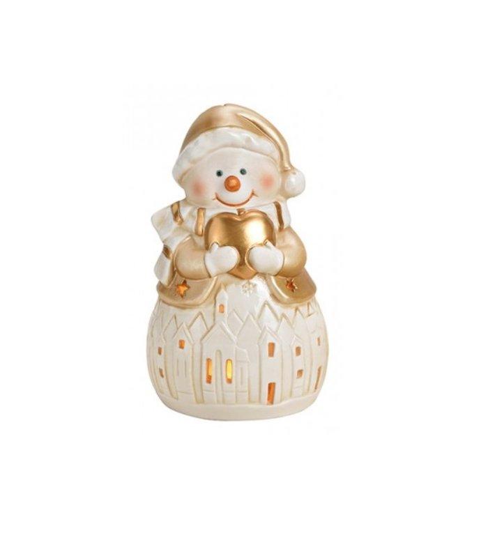 Sneeuwpop waxinelichthouder 16 cm
