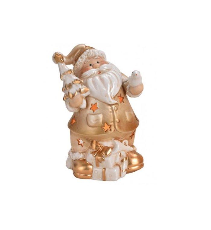Kerstman waxinelichthouder 15 cm