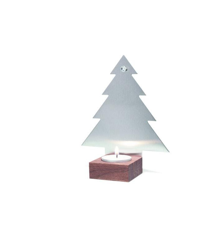 designimdorf Waxinelichthouder kerstboom van notenhout en edelstaal