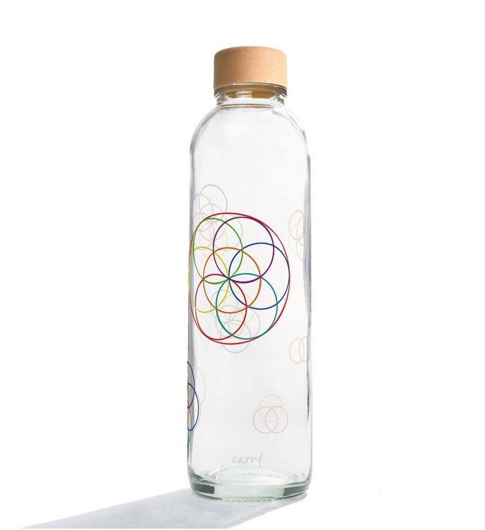 Carry Bottles Glazen Drinkfles Flower Elements 0.7 liter