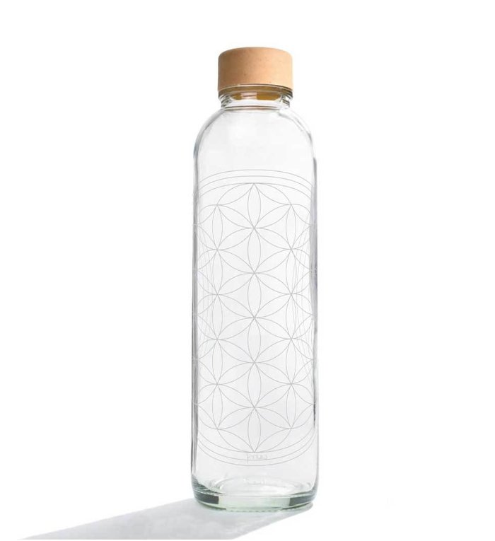 Carry Bottles Glazen Drinkfles Flower of Life 0.7 liter