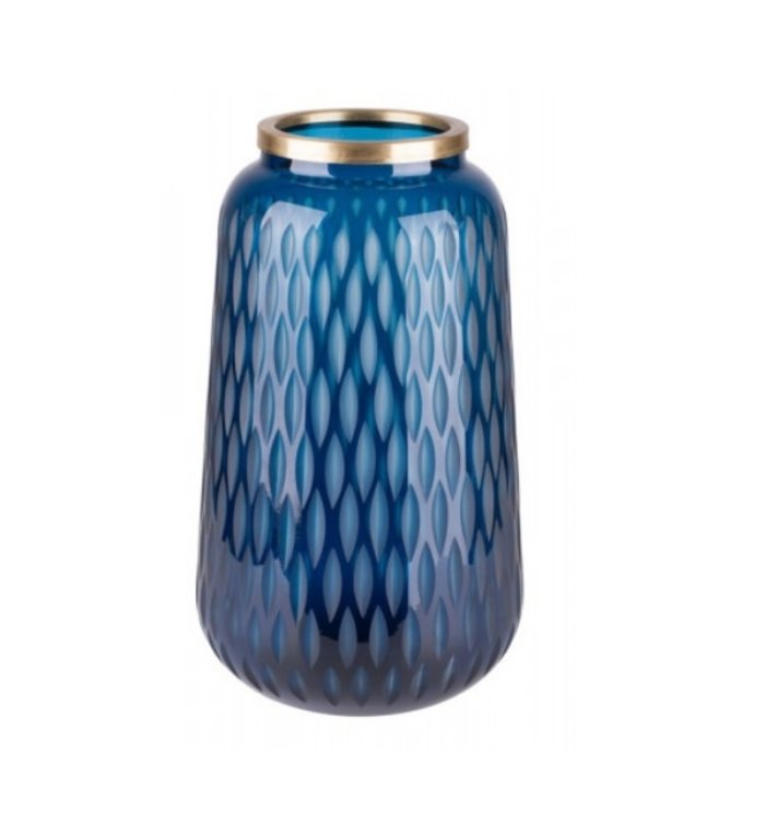 Giftcompany Flagon vaas blauw met gouden rand 30 cm hoog