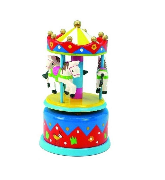 Houten speeldoosje met paarden carrousel blauw en geel