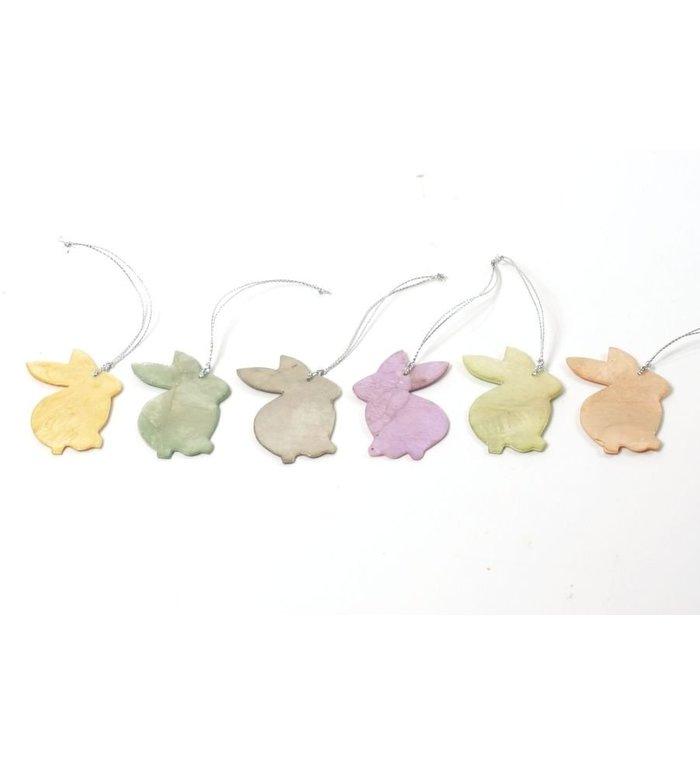 Kinta Spring rise paashazen van capiz set van 6 hangers 6,5 cm