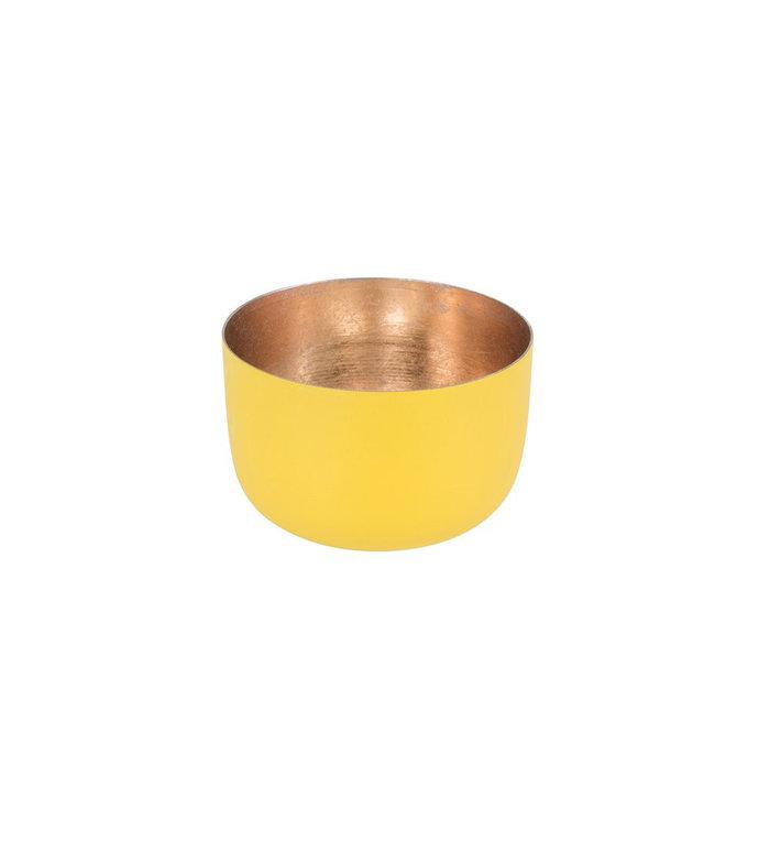 Giftcompany waxinelichtjeshouder citroen geel nudegold