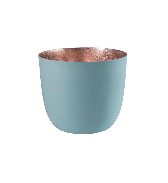Giftcompany waxinelichtjeshouder medium poeder blauw / rosé goud
