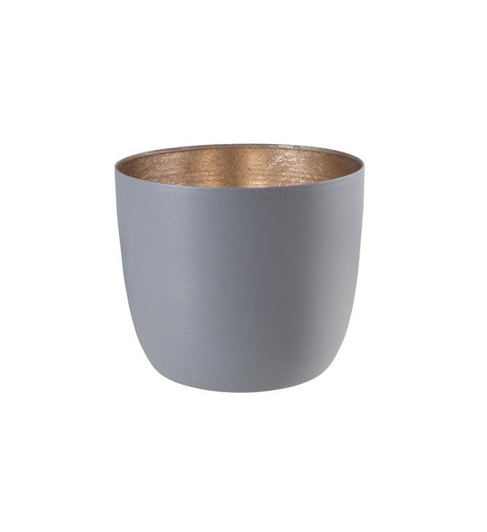 Giftcompany Waxinelichtjeshouder medium grijs nudegold