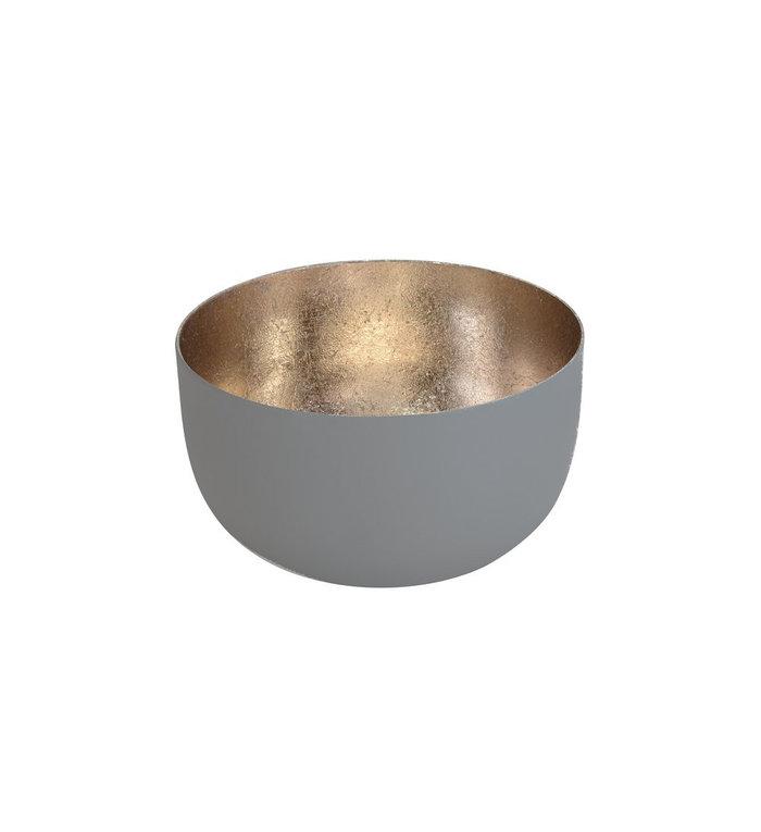 Giftcompany waxinelichtjeshouder grijs met nudegold