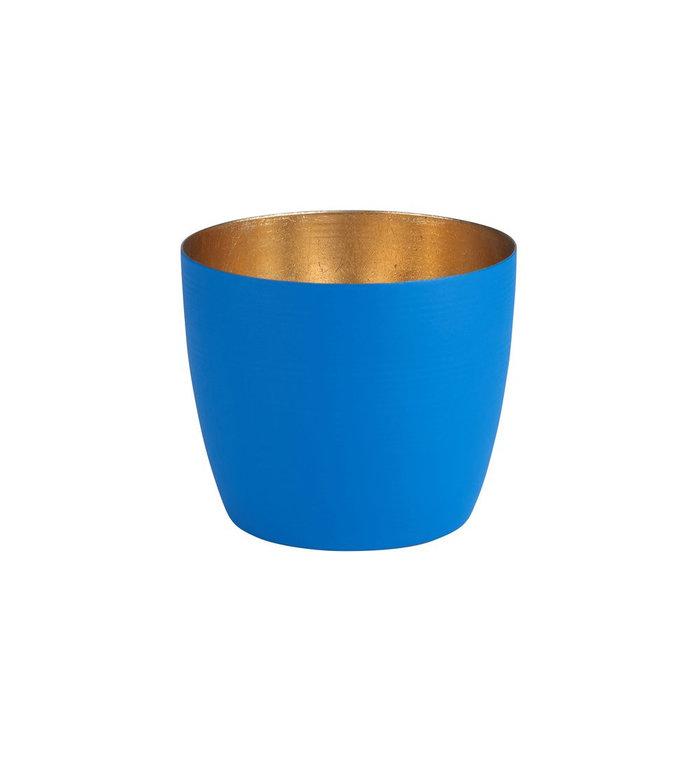 Giftcompany waxinelichtjeshouder medium azuur blauw met nudegold