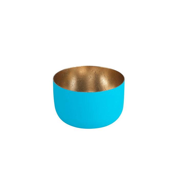 Giftcompany waxinelichtjeshouder lagune blauw met nudegold
