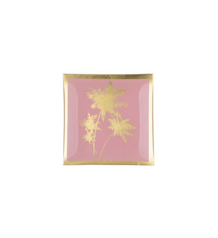 Giftcompany Roze glazen schoteltje met palmboom afbeelding