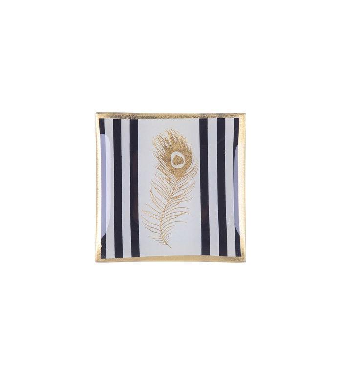 Giftcompany Zwart-wit glazen schoteltje met gouden veer