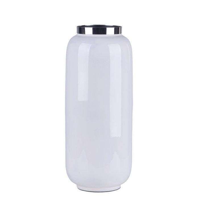 Giftcompany Saigon vaas wit met zilveren metalen rand 30 cm hoog
