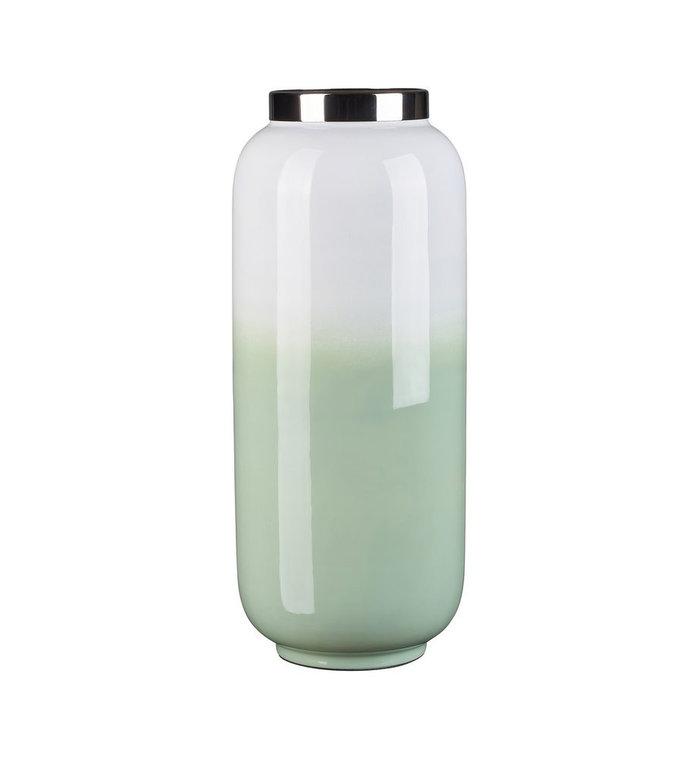 Giftcompany Chinees jade met witte vaas met zilveren metalen rand