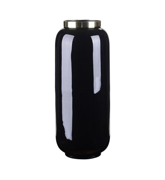 Giftcompany Zwarte vaas met gouden metalen rand Saigon 30 cm hoog