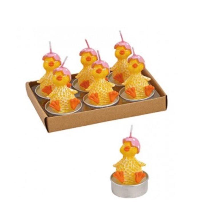 Set van 6 waxinelichtjes  paaskuiken met roze eierschaalhoedje