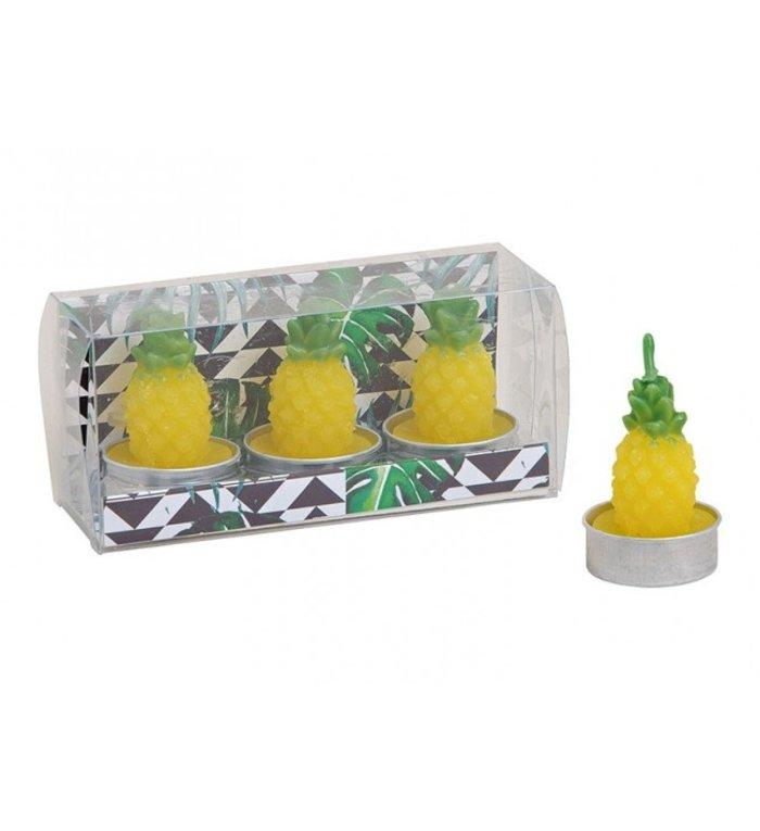 Set van 3 Ananas waxinelichtjes